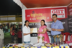 Jyoti Kumari Student of BSc IT(1st Year) has been awarded Best Performance award for his Excellent Managing Ability in organizing Event in Swadeshi Mela